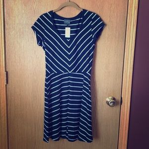 Navy and white mini dress